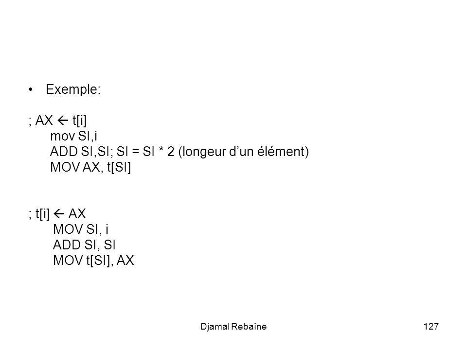 ADD SI,SI; SI = SI * 2 (longeur d'un élément) MOV AX, t[SI]